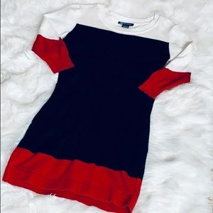 Red/Black/Ivory Color Block Sweater Dress-S *F506*